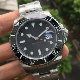 Wholesale Deep Bezel - Luxury Mens Red SEA-DWELLER 4000 DEEP Ceramic Bezel Watch SEA Stanless Steel 116660 Automatic AAA Mens Business Casual Watches 2017