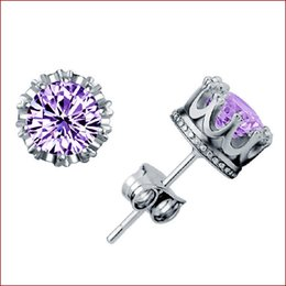 Wholesale Cz Ear Rings - Band New Crown Wedding Stud Earring 2017 New 925 Sterling Silver CZ Simulated Diamonds Engagement Beautiful Jewelry Crystal Ear Rings 170781