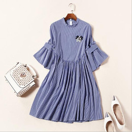 Wholesale Dress Brooch Vintage - Europe and the United States women's clothing in the spring of 2017 the new stripe five lotus leaf sleeve cuff A brooch dress