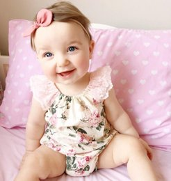Wholesale Christmas Kids Sets - Ins Baby Girls Floral Printed Lace Rompers Cute Infant Toddle One Piece Set Newborn Onesies Baby Jumpsuits Kids Clothes Children Clothing