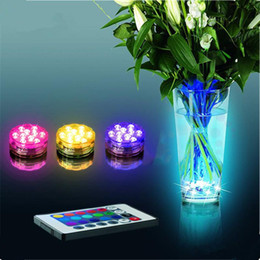 Wholesale Remote Control Led Light Base - RGB LED Submersible Light Multi Colors Remote Control 16colors Submersible LED light LED Vases Base Light Wedding Valentine's day Gifts