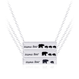 Wholesale Inspired Silver Plated Bar Necklace Polar Mama Bear Necklace Gifts for Mom Wife Mother s Day Gift Birthday Remembrance Option