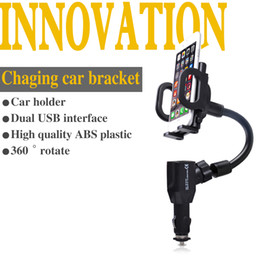 Wholesale S3 Charger Holder - Wholesale- Universal Dual USB Car Charger GPS Mobile Phone Holder 360 Degree Rotation Support iphone5 6 7 Plus Galaxy S3 S4 S5