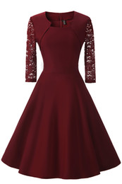 Argentina NFIVE 2017 Nueva Primavera Femenina Collar Cuadrado de Costura de Encaje de Siete Manga Vestido Lápiz Corto Formal de La Vendimia Vestidos Formales supplier female formal dresses Suministro