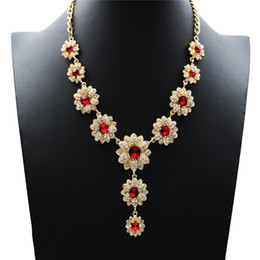 Wholesale Turquoise Gold Costume Jewelry - High Quality Colar Necklace Women Costume Jewelry Gold Plated Crystal Flower Luxury Necklaces for Women Rose Flower pendants