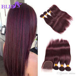 Wholesale Middle Parting Lace Closure Brazillian - Brazillian Straight Hair With Closure Human Hair With Closure #99j Color Straight Hair And Lace Closure With Free Middle Three 3 Part