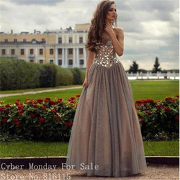 Wholesale Sheath Sweetheart Beadings Dress - New Arrive Sweetheart Gray Color Long Evening Dresses Robe de Soiree Luxurious Beadings Prom Dress Formal Evening Party Gowns