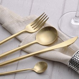 Wholesale Dinner Knife Fork Spoon - High Quality Gold Plated Stainless Steel Dinnerware Sets Dinner Spoon Dinner knife Dinner Fork and Teaspoon 4pcs a Set LEKOCH