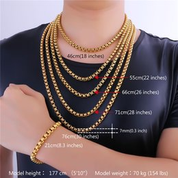 Wholesale Jewelry Size Gift Boxes - U7 7MM 5 Sizes 18K Gold Plated Box Chains Classical Necklace for Men Women Fashion Jewelry Perfect Accessories Gift Men Jewelry GN2337