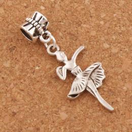 Wholesale Dance Bracelet Charms - Pretty Dancing Girl Big Hole Beads 100pcs lot 38.4X14.7mm Antique Silver Fit European Charm Bracelets Jewelry DIY B1147