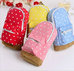 Wholesale Cheap Wallets Change Purses - Wholesale- 1PCS Mini Dot Shoulder Bag Kawaii Change Purses Women Girls Kids Wallet Fabric Canvas Cheap Coin Purse Pouch Zipper Bags