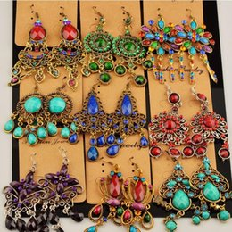 Wholesale Earring Resin - Hot New Different Vintage Tibetan Silver Bronze Resin Gem Fashion Earrings Random Mix Styles Earrings New Fashion Jewelry