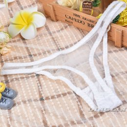 Wholesale Underwear Women Sheer White - GZDL Sexy Women Transparent Lingeries Sheer Mesh Panties Ladies G-String Underpants Briefs Underwear Thongs V-string NY210