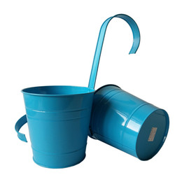 Wholesale American Giant - Free shippng 4Pcs Lot blue Pure garden balcony bucket tin box Iron pots Hanging bucket Planters Round with KD hook