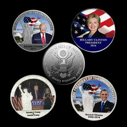 Wholesale President Plate - Donald Trump The President of The united state of Ameirca silver plated color souvenir USA coin badge
