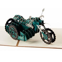 Convite meninos on-line-(10 peças / lote) Frete Grátis 3D Handmade Motocicleta Papel Silhueta Cartão para o Aniversário Cartão de Convite Criativo para o Menino