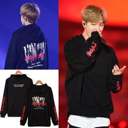 Wholesale kpop caps - Wholesale- BTS Kpop JIMIN Concert The Same Style New Hoodies Fashion Men Women Cap Hooded Sweatshirt Clothes Plus Size XXXXL