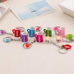 Wholesale Cute Lock Key - Brand new Creative Cute Cup Keychain Resin Coffee Cup Car Key Pendant Metal Key Ring KR118 Keychains mix order 20 pieces a lot