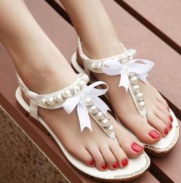Wholesale Sew Back Flat Rhinestone - Wholesale-Free Shipping Women Sandals 2015 flip flop rhinestone shoes Women flat sandals with pearls women flats 4 colors