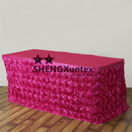 Wholesale Table Skirts Wholesale - Good Looking Fuchsia Color Satin Rosette Table Skirt For Wedding Party Decoration