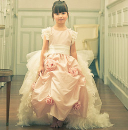 Wholesale Stunning Pageant Dresses Little Girls - A Touch Of Roses A Stunning Girl's Pageant Dresses Adorned With Roses Detachable Feather Train Pink Little Gowns