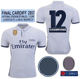 Wholesale Final Gold - 2017 Final Cardiff Real madrid Soccer Jersey Ronaldo Modric Sergio Ramos Bale 2016 2017 2018 12 Champions League