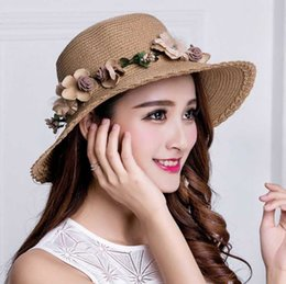 Wholesale Foldable Hats Women - Designer Ladies Wide Brimmed Beach Visors With Handmade Flower Garland Foldable Big Straw Hats For Women UA Protection Bohemia Summer Cap