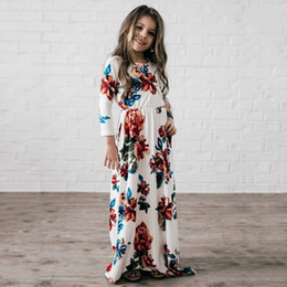 Wholesale Long Length Round Neck - Girls princess long dress autumn kids printed cotton long sleeve pleated dress children round neck casual clothing C0919