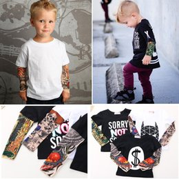 Wholesale Baby Girl Tattoos - Streetwear Hip-hop Fake Tattoo Sleeve Baby Boy T-Shirts Fashion Girls Clothes Novelty Children Clothing Shirts Tops 100% Cotton