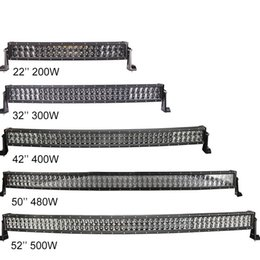 Wholesale Truck 11 - 22 32 42 50 52inch Combo 4D Led Light Bars for Trucks Trailer IP67 12V Car Dual Row Curved Led Work Light Bar 200W 300W 400W 480W 500W