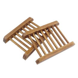 Wholesale Wood Racks For Wholesale - Dark Wood Soap Dish Wooden Soap Tray Holder Storage Soap Rack Plate Box Container for Bath Shower Plate Bathroom wen4566