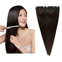 Wholesale One Piece Black Hair Extensions - ELIBESS HAIR- One Piece Remy Clip in Hair Extensions Dark Color Human Hair Clip In 16-26 inch 100g pcs Hot Selling
