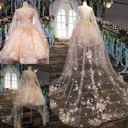 Wholesale Fluffy Wrap Dress - Amazing Fluffy Homecoming Dress With Wrap Jewel Neck Floral Lace Applique Short Prom Dress Gorgeous Mini Party Gown Knee Length Evening Dres
