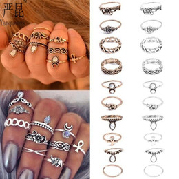 Wholesale Knuckle Bands - 10pcs lot Vintage Finger Rings For Women Unique Carved Antique Silver Golden Gemstones Midi Above Knuckle Rings Set Thin Band Various Sizes