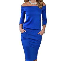 Wholesale Womens Dresses Three Quarter Sleeve - 2016 New Style Summer Dress Three Quarter Sleeve Slash Neck Womens Sexy Fashion Dresses Casual Party Night Blue Black Club Dress