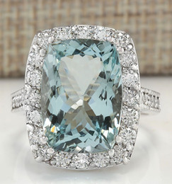 Wholesale Natural Diamond Ring White Gold - 8.82CTW NATURAL AQUAMARINE AND DIAMOND RING IN 14K WHITE GOLD