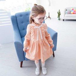 Wholesale Orange Yellow Tutu - Everweekend Baby Girls Ruffles Candy Color Autumn Dress Orange Yellow Sweet Long Sleeve Children Fashion Dress