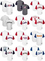 Wholesale Italy Customs - Men's Women's Kid's USA Canada Japan Mexico Italy Cuba Venezuela Puerto Rico baseball 2017 world classic custom personalized any name Jersey