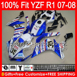 2019 r1 carenados 8Gifts 23Colors Injection para YAMAHA YZF1000 YZFR1 07 08 YZF 1000 37NO27 Azul FIMER YZF-R1 07-08 YZF-1000 YZF R 1 YZF R1 2007 2008 r1 carenados baratos