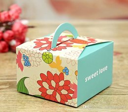 Wholesale Red Paper Gift Bags - Lovely Printing Wedding Favor Box 4 Color Flower Wedding Candy Box Children Party Gift Bag Wedding Favors And Gifts Boxes