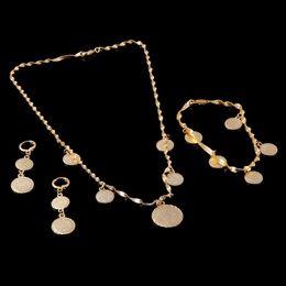 Wholesale Muslim Bracelets - Solid Bracelet Necklace Earrings set Islamic Muslim Arab Coin Money Sign Women 14K Real Yellow Fine Gold Middle Eastern Africa Jewelry