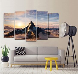 Wholesale National Pictures - Great Snow Mountain National Park Frameless Paintings 5pcs(No Frame) Printd on Canvas Arts Modern Home Wall Art HD Print
