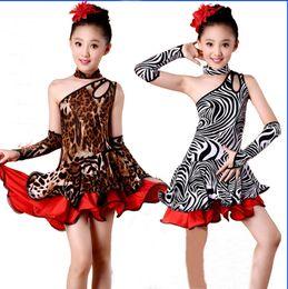 Wholesale Dancewear Latin Dress - Children Kids Kid Girls Latin Dancewear Competition Dancing Leopard Zebra Dress Dance Costume Child Latin Dance Dress For Girls