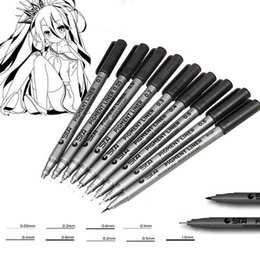 Wholesale Micron Drawing Pens - Pigma Micron Pens 9 Assorted Nib Size Micro-Line Ultra Fine Point Ink Pens Permanent Art Markers Manga Comic Sketching Drawing Brush Set
