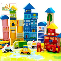 Wholesale Traffic Toys - Baby Vehicle Blocks 62 For Grains Of Urban Traffic Scenes Large Wooden Good For Intelligence Children Toys Water-based Paint