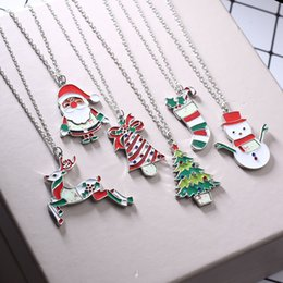 Wholesale Red Flowers Sticker - Christmas stickers printing necklaces painting oil stickers pendant Stainless Steel Link Chain necklace Jewelry Gifts for women men children