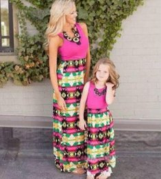 Wholesale Bohemian Outfits - Plus Size Mother and Daughter Matching Dress Sleeveless Bohemian Maxi Long Dresses Mother and Daughter Clothes Family Clothing Outfits