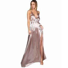Wholesale Cross Back Maxi - 2018 Maxi Party Dress Women Pink Plunge Neck Sexy Cross Back Wrap High Slit Summer Dresses Elegant Club Long Cami Dress
