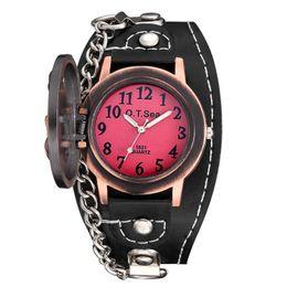 смотреть женщин медь Скидка Роскошные медь череп PU кожа часы Мужчины Женщины мода шайба рок цепи наручные часы с крышкой браслет часы