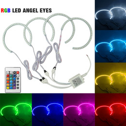 Wholesale Eyes Angels E46 - LEEWA Car RGB LED Angel Eyes Halo Ring Lighting Kit Remote Control For BMW E36 E38 E39 E46 Projector #4242